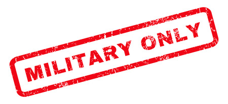 military draft: Military Only text rubber seal stamp watermark. Tag inside rounded rectangular shape with grunge design and unclean texture. Slanted vector red ink emblem on a white background.