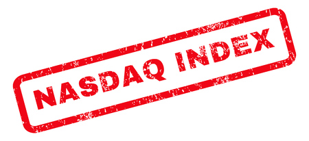 nasdaq: Nasdaq Index text rubber seal stamp watermark. Tag inside rounded rectangular banner with grunge design and dirty texture. Slanted vector red ink sticker on a white background.