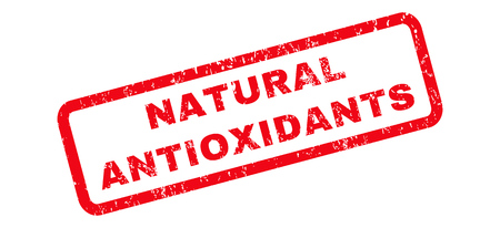 antioxidants: Natural Antioxidants text rubber seal stamp watermark. Caption inside rounded rectangular banner with grunge design and unclean texture. Slanted vector red ink sign on a white background.