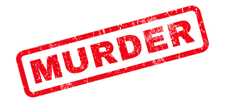 Murder text rubber seal stamp watermark. Caption inside rounded rectangular banner with grunge design and dirty texture. Slanted vector red ink emblem on a white background.