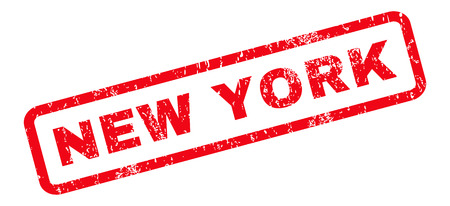 old new york: New York text rubber seal stamp watermark. Tag inside rounded rectangular banner with grunge design and dirty texture. Slanted vector red ink sticker on a white background.