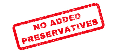 preservatives: No Added Preservatives text rubber seal stamp watermark. Tag inside rounded rectangular shape with grunge design and scratched texture. Slanted vector red ink sign on a white background.
