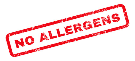 allergens: No Allergens text rubber seal stamp watermark. Tag inside rounded rectangular banner with grunge design and scratched texture. Slanted vector red ink sticker on a white background.