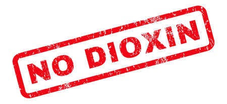 No Dioxin text rubber seal stamp watermark. Tag inside rounded rectangular banner with grunge design and unclean texture. Slanted vector red ink sticker on a white background.