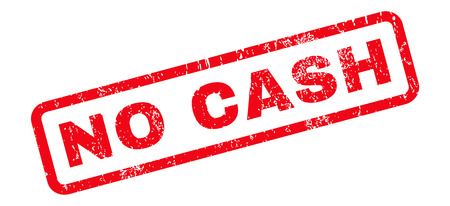 No Cash text rubber seal stamp watermark. Caption inside rounded rectangular shape with grunge design and dust texture. Slanted vector red ink sign on a white background.