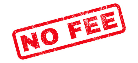 No Fee text rubber seal stamp watermark. Tag inside rounded rectangular banner with grunge design and dust texture. Slanted vector red ink sticker on a white background.