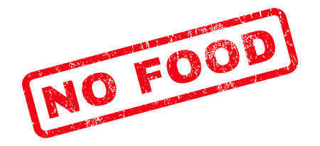 slanted: No Food text rubber seal stamp watermark. Caption inside rounded rectangular shape with grunge design and dust texture. Slanted vector red ink emblem on a white background.