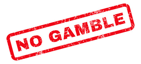 gamble: No Gamble text rubber seal stamp watermark. Tag inside rounded rectangular banner with grunge design and dirty texture. Slanted vector red ink emblem on a white background. Illustration