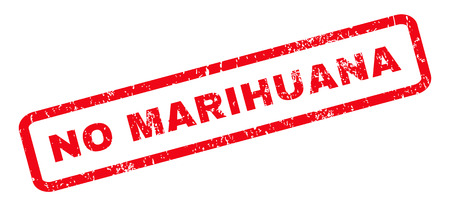marihuana: No Marihuana text rubber seal stamp watermark. Tag inside rounded rectangular banner with grunge design and unclean texture. Slanted vector red ink emblem on a white background.