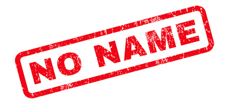 No Name text rubber seal stamp watermark. Caption inside rounded rectangular banner with grunge design and dust texture. Slanted vector red ink sign on a white background.