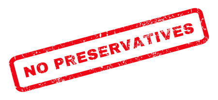 preservatives: No Preservatives text rubber seal stamp watermark. Caption inside rounded rectangular shape with grunge design and unclean texture. Slanted vector red ink sign on a white background.