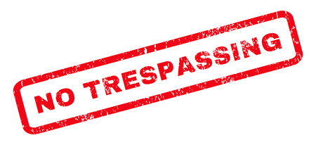trespassing: No Trespassing text rubber seal stamp watermark. Caption inside rounded rectangular banner with grunge design and dirty texture. Slanted vector red ink emblem on a white background.