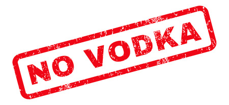 No Vodka text rubber seal stamp watermark. Tag inside rounded rectangular shape with grunge design and dirty texture. Slanted vector red ink sign on a white background.