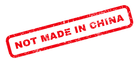 made in china: Not Made In China text rubber seal stamp watermark. Caption inside rounded rectangular banner with grunge design and scratched texture. Slanted vector red ink sign on a white background.