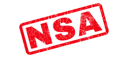 NSA text rubber seal stamp watermark. Tag inside rounded rectangular banner with grunge design and dust texture. Slanted vector red ink emblem on a white background.