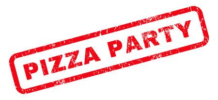 ピザ党本文ゴムスリーブは、スタンプの透かし。グランジ デザインと傷の質感と丸みを帯びた長方形内のキャプションします。白の背景に斜めのベ