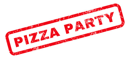 Pizza Party text rubber seal stamp watermark. Caption inside rounded rectangular shape with grunge design and scratched texture. Slanted vector red ink emblem on a white background. Vettoriali
