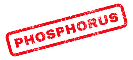 phosphorus: Phosphorus text rubber seal stamp watermark. Caption inside rounded rectangular banner with grunge design and dust texture. Slanted vector red ink sign on a white background. Illustration
