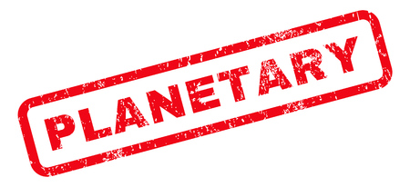 planetary: Planetary text rubber seal stamp watermark. Tag inside rounded rectangular banner with grunge design and scratched texture. Slanted vector red ink sticker on a white background.