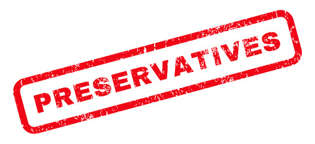 preservatives: Preservatives text rubber seal stamp watermark. Caption inside rounded rectangular banner with grunge design and unclean texture. Slanted vector red ink sign on a white background.