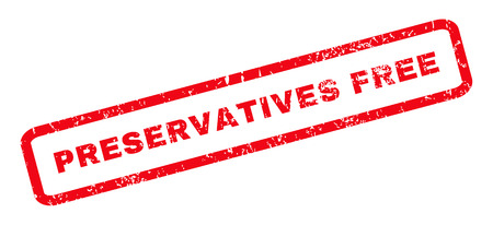 preservatives: Preservatives Free text rubber seal stamp watermark. Caption inside rounded rectangular banner with grunge design and scratched texture. Slanted vector red ink sign on a white background.