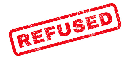 refused: Refused text rubber seal stamp watermark. Tag inside rounded rectangular banner with grunge design and dirty texture. Slanted vector red ink sign on a white background. Illustration
