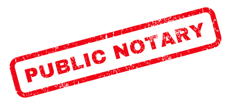 Public Notary text rubber seal stamp watermark. Tag inside rounded rectangular shape with grunge design and dirty texture. Slanted vector red ink emblem on a white background.