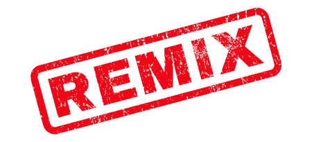 remix: Remix text rubber seal stamp watermark. Caption inside rounded rectangular banner with grunge design and dirty texture. Slanted vector red ink sign on a white background.