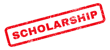 scholarship: Scholarship text rubber seal stamp watermark. Caption inside rounded rectangular banner with grunge design and scratched texture. Slanted vector red ink sign on a white background.