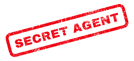 secret agent: Secret Agent text rubber seal stamp watermark. Tag inside rounded rectangular banner with grunge design and unclean texture. Slanted vector red ink emblem on a white background.