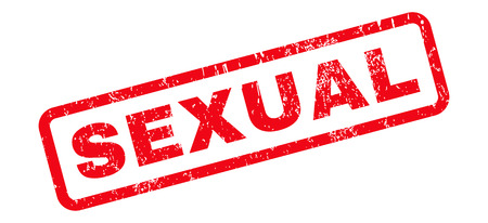 sexual: Sexual text rubber seal stamp watermark. Tag inside rounded rectangular banner with grunge design and dust texture. Slanted vector red ink emblem on a white background.