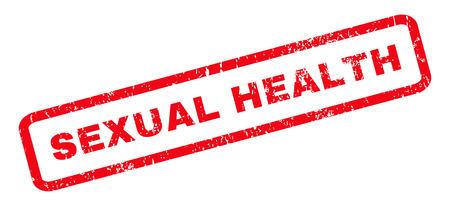 salud sexual: Salud texto marca de agua sello de junta de goma sexual. Etiqueta redondeada en el interior de forma rectangular con diseño de grunge y textura impuro. Vector de la muestra inclinada tinta roja sobre un fondo blanco.