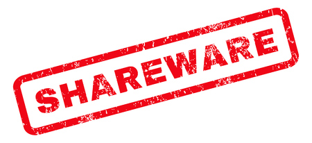 shareware: Shareware text rubber seal stamp watermark. Caption inside rounded rectangular banner with grunge design and dust texture. Slanted vector red ink emblem on a white background. Illustration