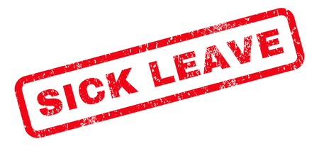 Sick Leave text rubber seal stamp watermark. Tag inside rounded rectangular banner with grunge design and dust texture. Slanted vector red ink sticker on a white background.