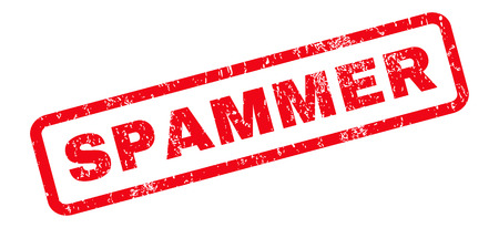 spammer: Spammer text rubber seal stamp watermark. Tag inside rounded rectangular banner with grunge design and unclean texture. Slanted vector red ink sticker on a white background. Illustration