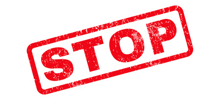 Stop text rubber seal stamp watermark. Tag inside rounded rectangular shape with grunge design and scratched texture. Slanted vector red ink emblem on a white background.