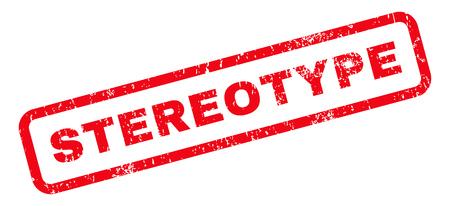 estereotipo: Estereotipo de caucho sello de marca de agua de texto sello. Etiqueta redondeada en el interior de forma rectangular con diseño de grunge y textura de polvo. Inclinada vector emblema de tinta roja sobre un fondo blanco.