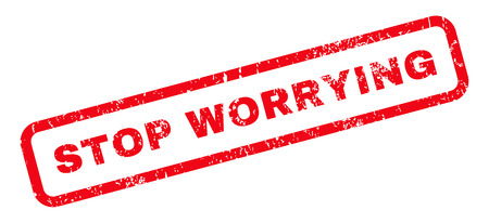 worrying: Stop Worrying text rubber seal stamp watermark. Tag inside rounded rectangular banner with grunge design and scratched texture. Slanted vector red ink emblem on a white background.