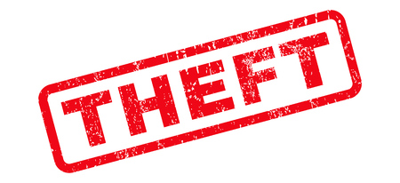 Theft text rubber seal stamp watermark. Tag inside rounded rectangular banner with grunge design and unclean texture. Slanted vector red ink sign on a white background.