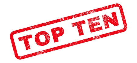 top ten: Top Ten text rubber seal stamp watermark. Tag inside rounded rectangular banner with grunge design and dirty texture. Slanted vector red ink sticker on a white background.