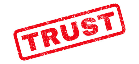 Trust text rubber seal stamp watermark. Caption inside rounded rectangular banner with grunge design and dirty texture. Slanted vector red ink emblem on a white background.