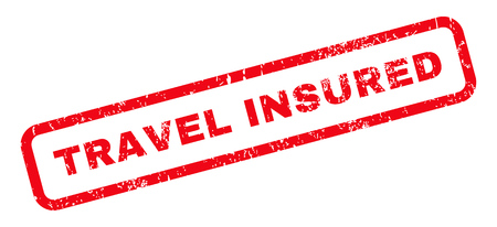 insured: Travel Insured text rubber seal stamp watermark. Caption inside rounded rectangular banner with grunge design and dust texture. Slanted vector red ink sticker on a white background.