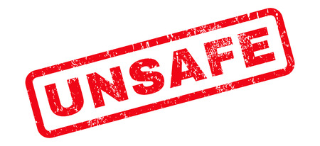 unsafe: Unsafe text rubber seal stamp watermark. Tag inside rounded rectangular shape with grunge design and scratched texture. Slanted vector red ink sticker on a white background.