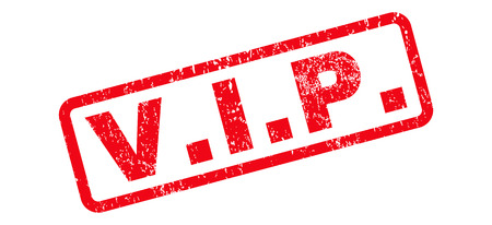 V.I.P. text rubber seal stamp watermark. Caption inside rounded rectangular banner with grunge design and unclean texture. Slanted vector red ink sticker on a white background.