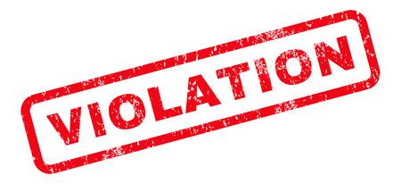 violation: Violación texto de la marca sello de junta de goma. Etiqueta redondeada en el interior de la bandera rectangular con diseño de grunge y textura de polvo. Inclinada vector emblema de tinta roja sobre un fondo blanco.