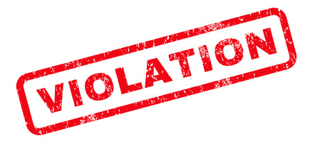 violation: Violation text rubber seal stamp watermark. Tag inside rounded rectangular banner with grunge design and dust texture. Slanted vector red ink emblem on a white background. Illustration