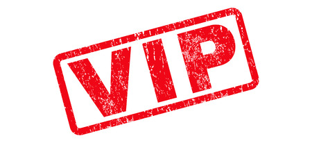 Vip text rubber seal stamp watermark. Tag inside rounded rectangular shape with grunge design and dirty texture. Slanted vector red ink sticker on a white background.