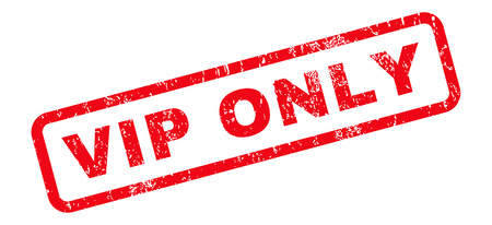 Vip Only text rubber seal stamp watermark. Tag inside rounded rectangular shape with grunge design and scratched texture. Slanted vector red ink emblem on a white background.