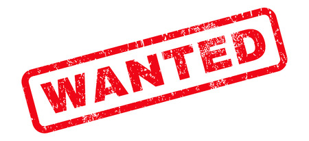 Wanted text rubber seal stamp watermark. Tag inside rounded rectangular banner with grunge design and dust texture. Slanted vector red ink sign on a white background.