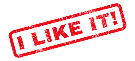 like it: I Like It! text rubber seal stamp watermark. Tag inside rounded rectangular banner with grunge design and unclean texture. Slanted vector red ink sticker on a white background.